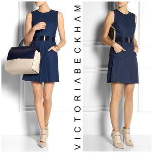 Victoria Beckham Sleeveless Belted  Denim Dress